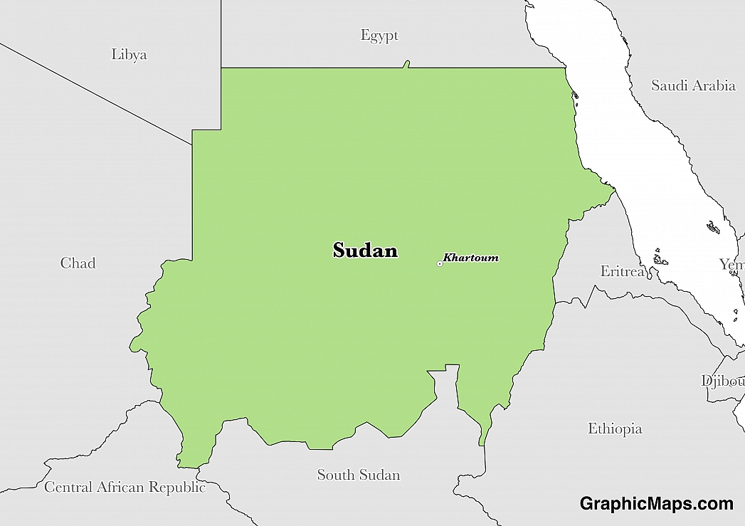 Map showing the location of Sudan