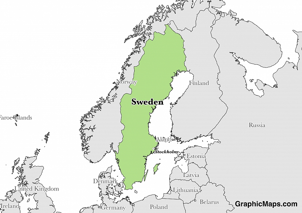Map showing the location of Sweden