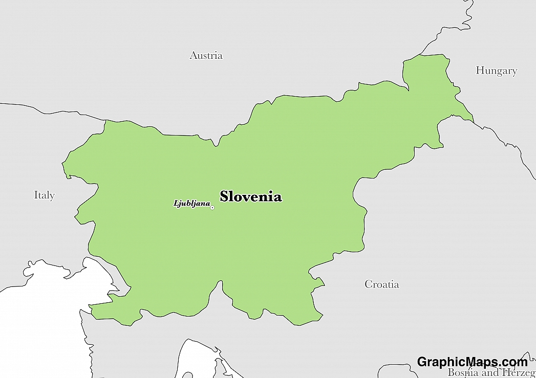 Map showing the location of Slovenia