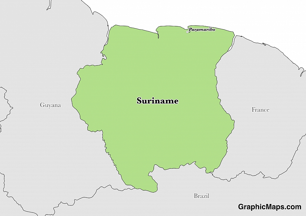 Map showing the location of Suriname