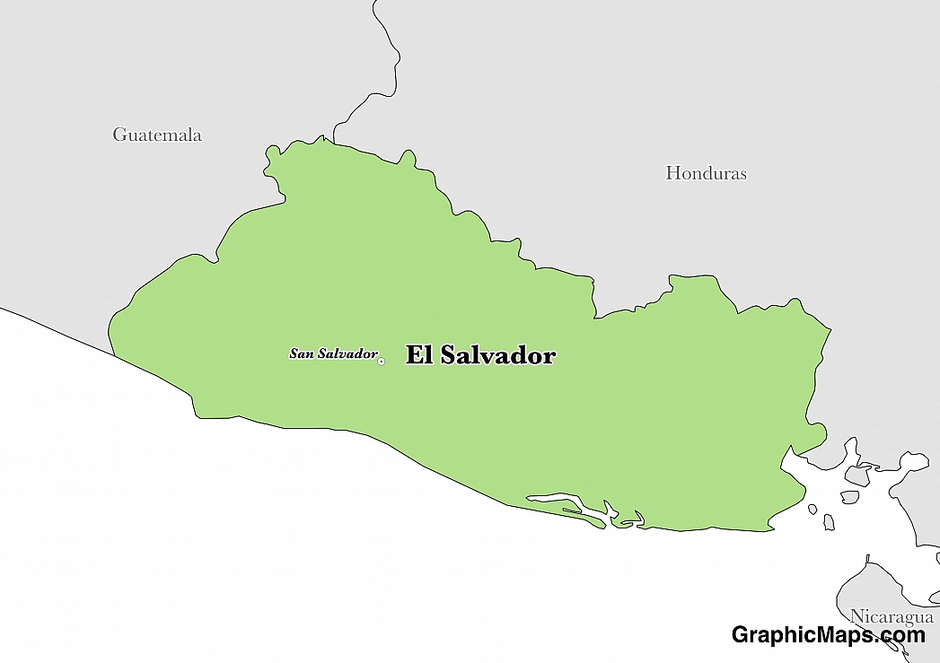 El Salvador - GraphicMaps.com on