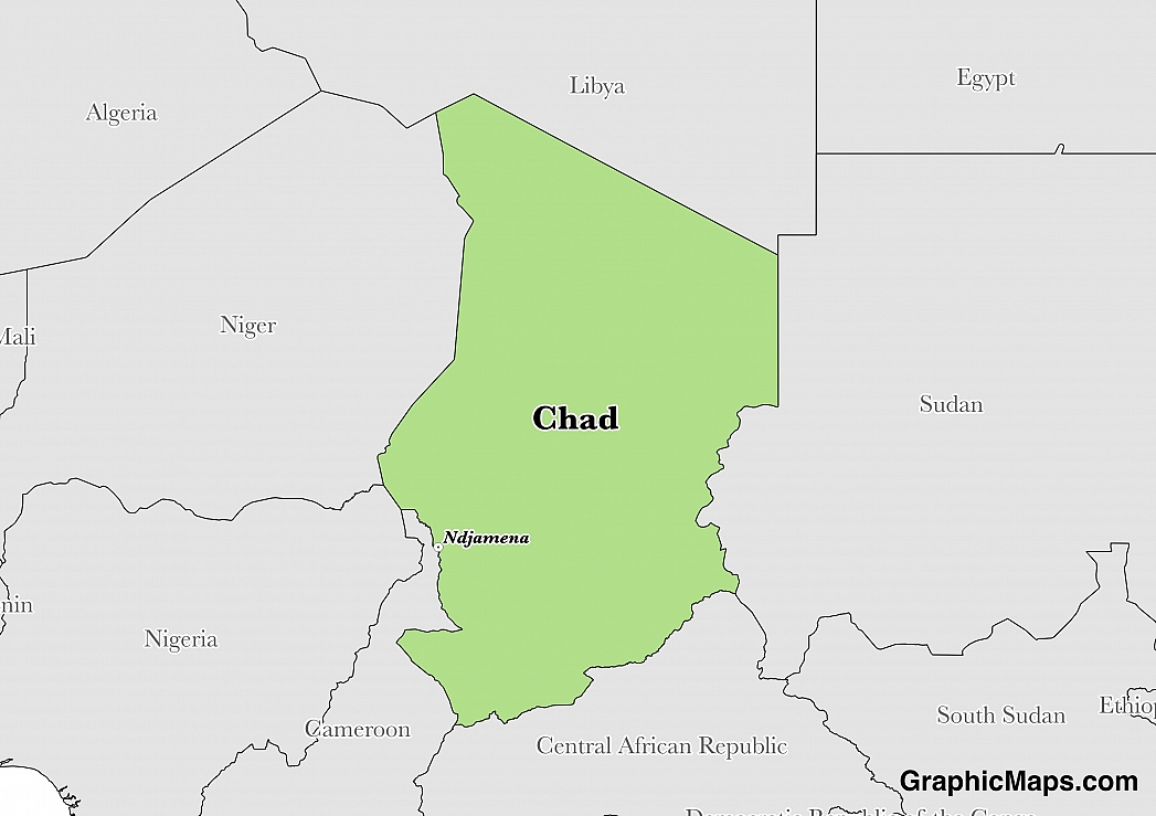 Map showing the location of Chad