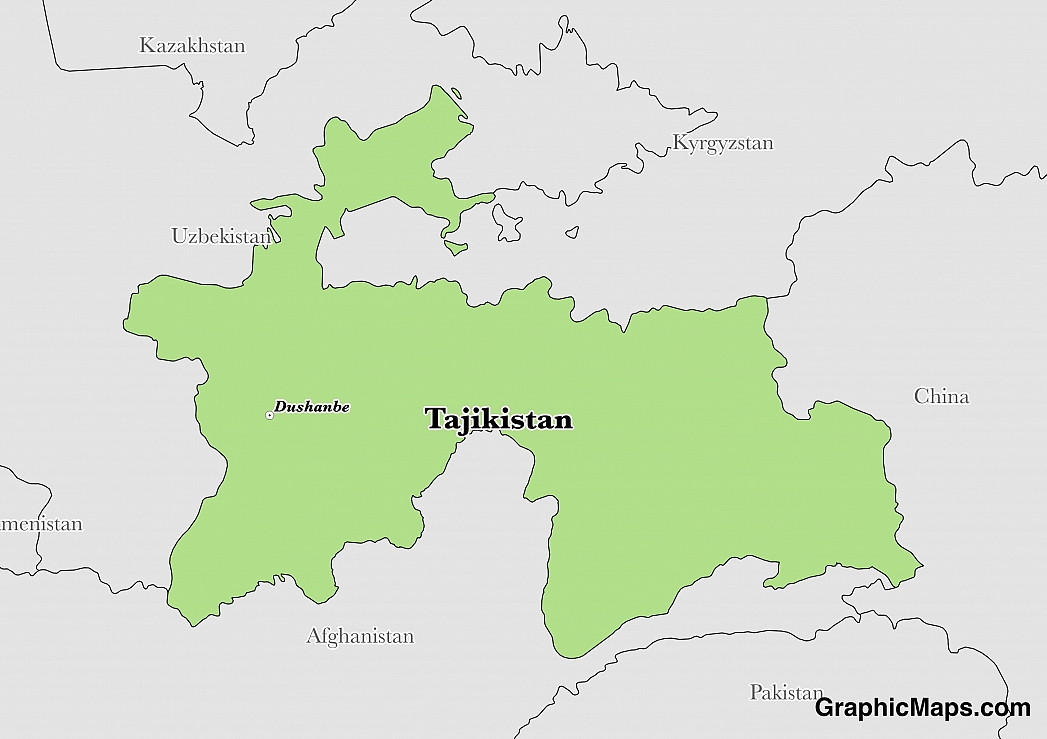 Map showing the location of Tajikistan