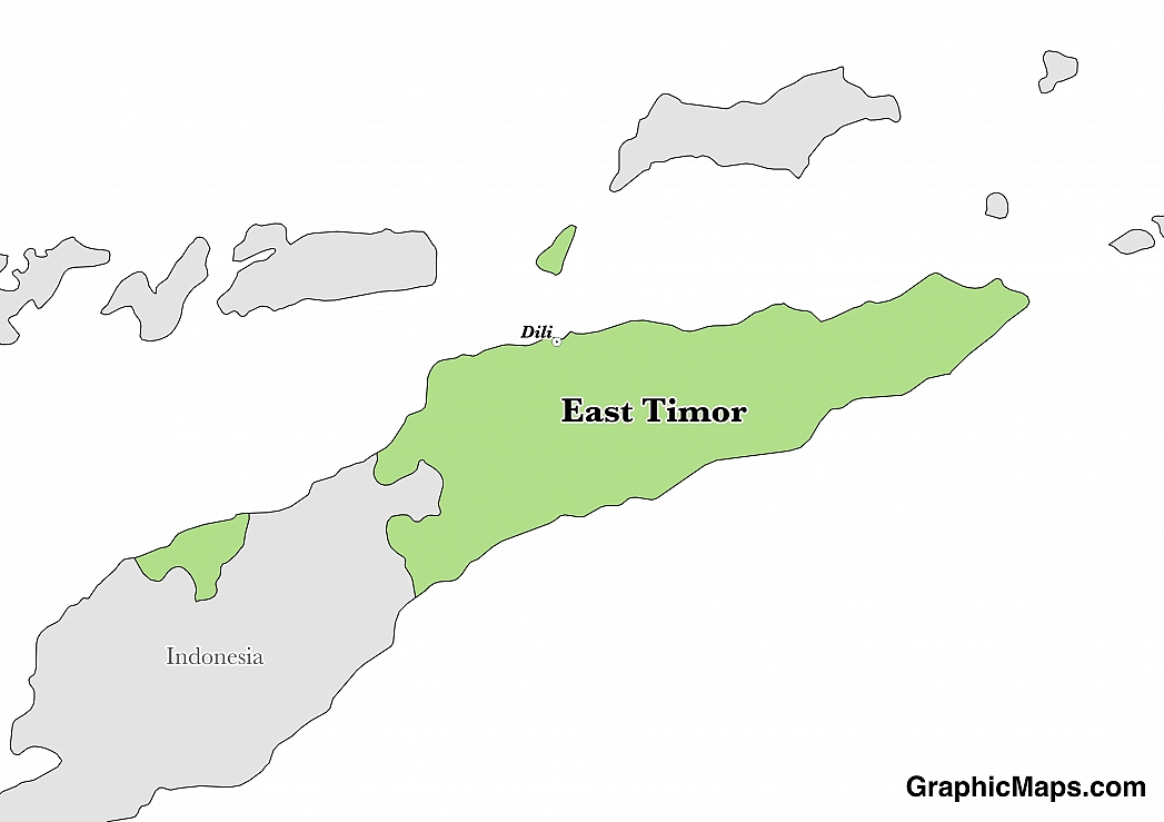 Map showing the location of East Timor
