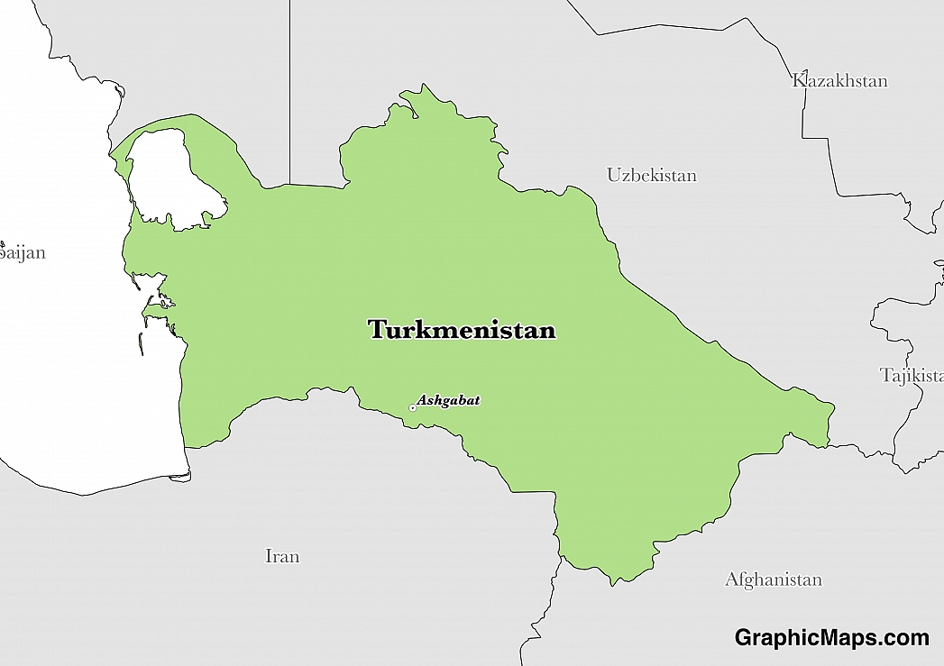 Map showing the location of Turkmenistan