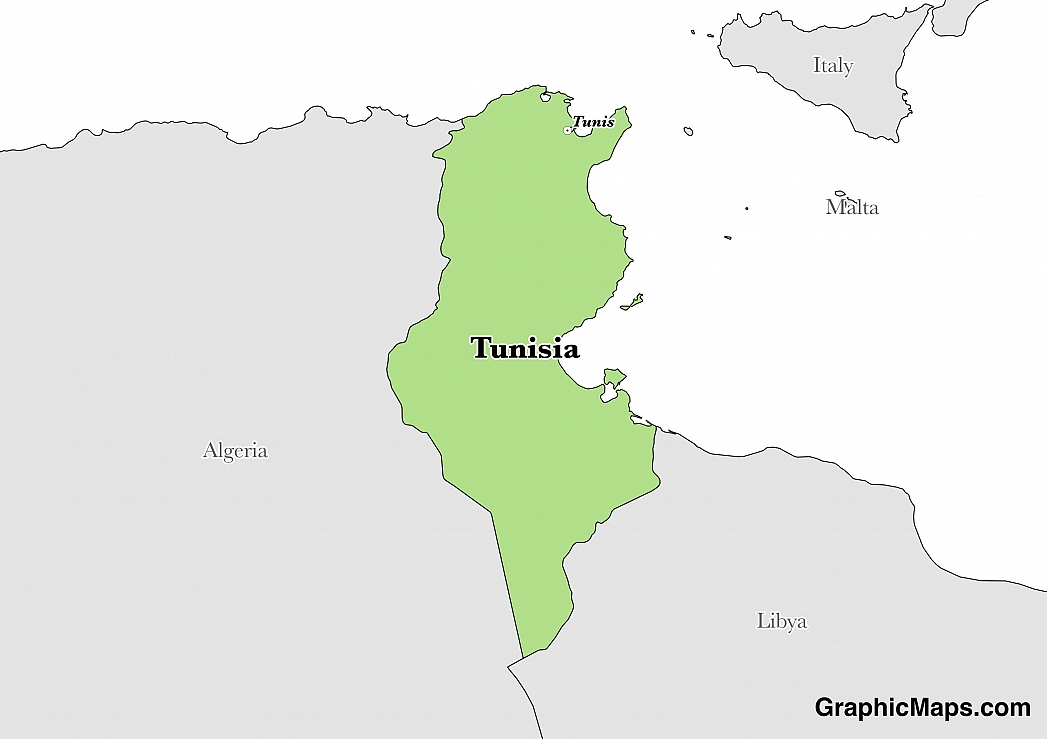 Map showing the location of Tunisia