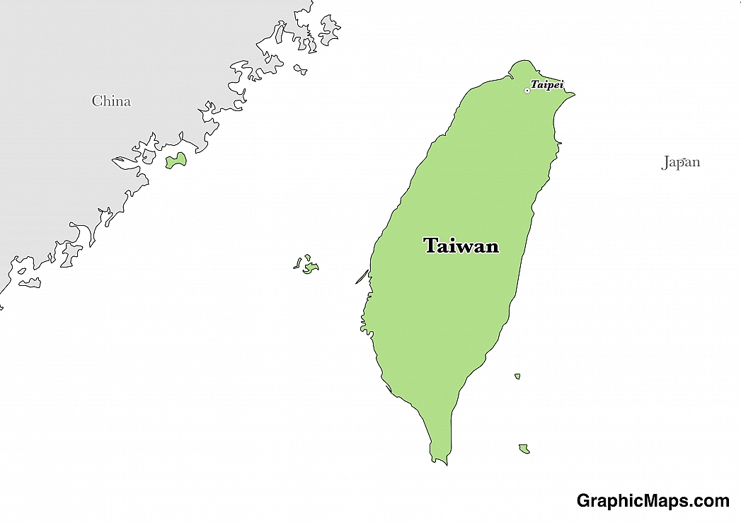 Map showing the location of Taiwan