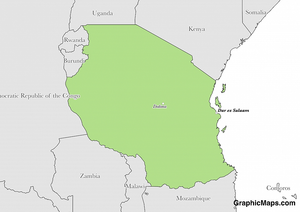 Map showing the location of Tanzania