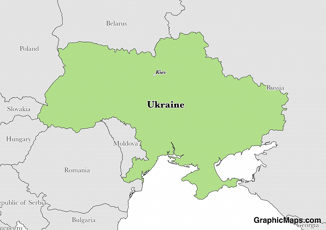 Map showing the location of Ukraine