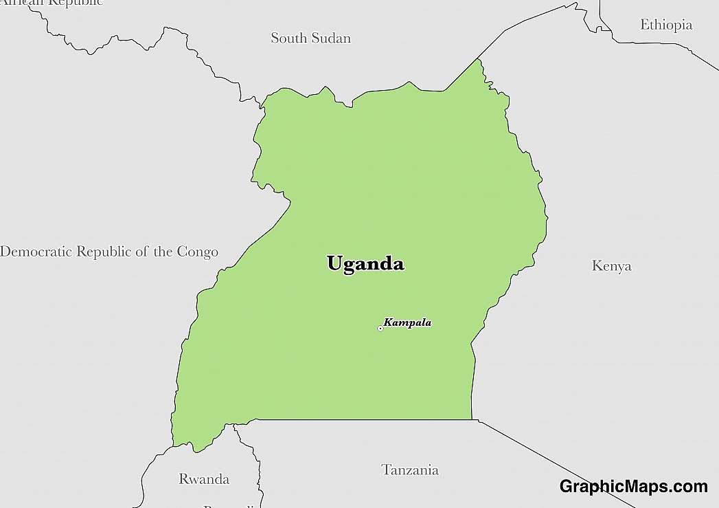 Map showing the location of Uganda