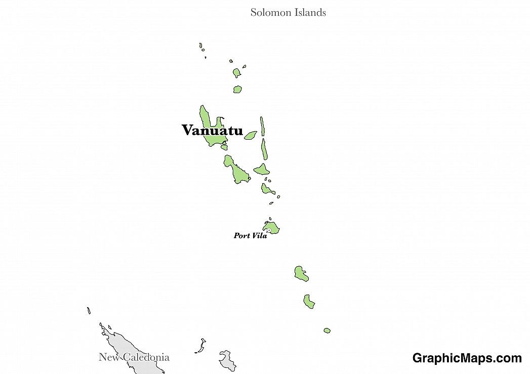 Map showing the location of Vanuatu