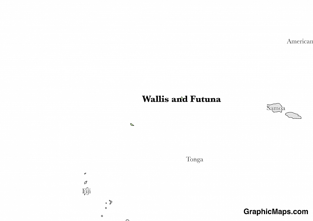 Map showing the location of Wallis and Futuna