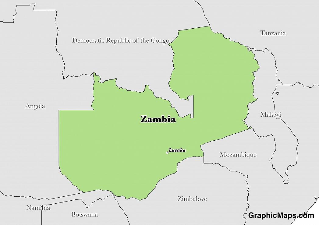 Map showing the location of Zambia