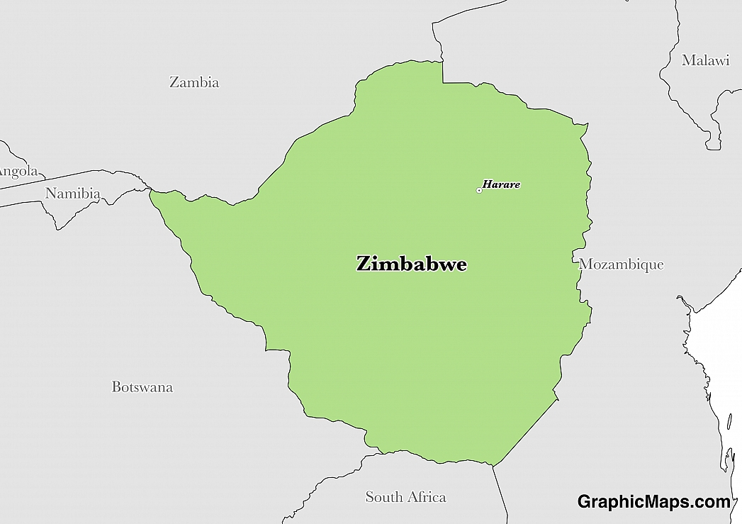 Map showing the location of Zimbabwe